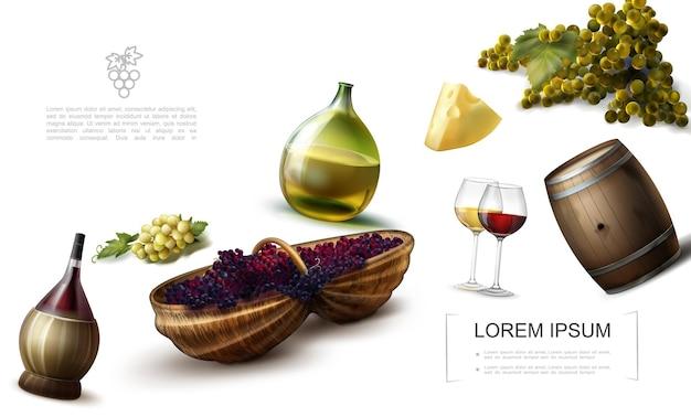 Plantilla colorida de uva realista con botellas y vasos de vino, queso, barril de madera, racimos de uvas blancas y rojas