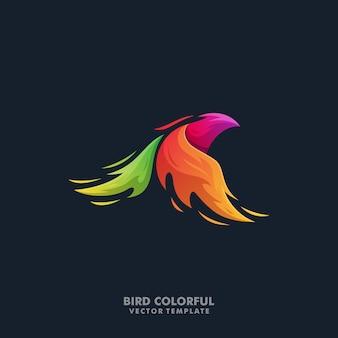 Plantilla colorida del vector de la ilustración del pájaro de phoenix
