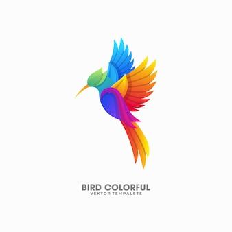 Plantilla colorida del vector de la ilustración del pájaro