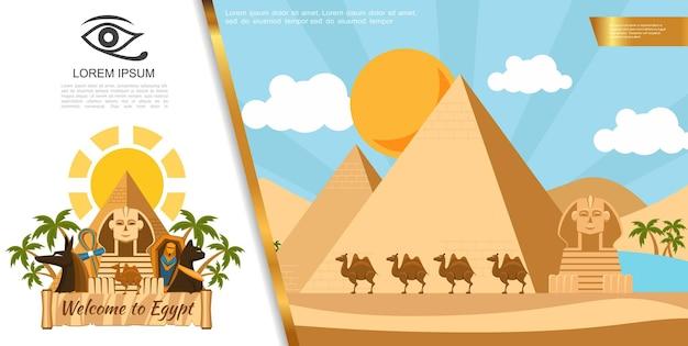 Plantilla colorida de viaje de egipto plano con pirámides, camellos, esfinge, palmeras, ankh, cruz, sarcófago, gato egipcio