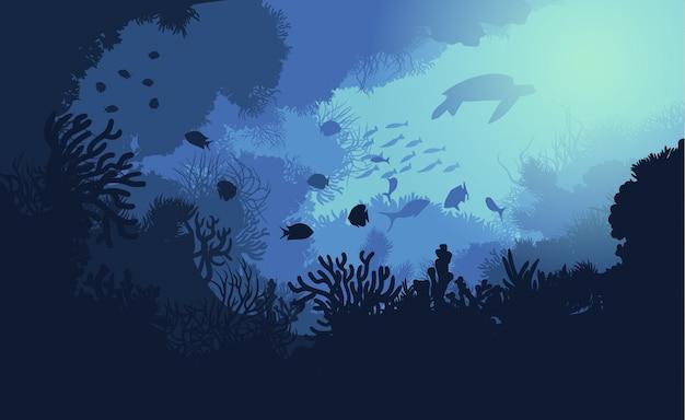 Plantilla colorida de vida submarina