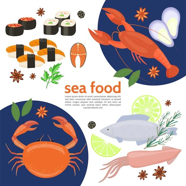 Plantilla de comida de mar natural plana con cangrejo langosta calamar pescado rollos de sushi hierbas limón caviar aislado ilustración vectorial