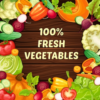 Plantilla de comida natural orgánica de dibujos animados