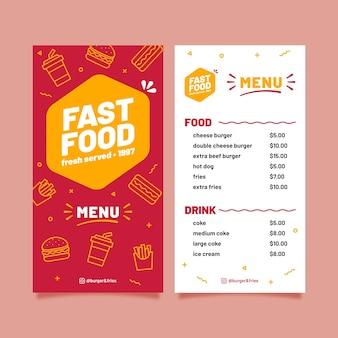 Plantilla de comida rápida para restaurante