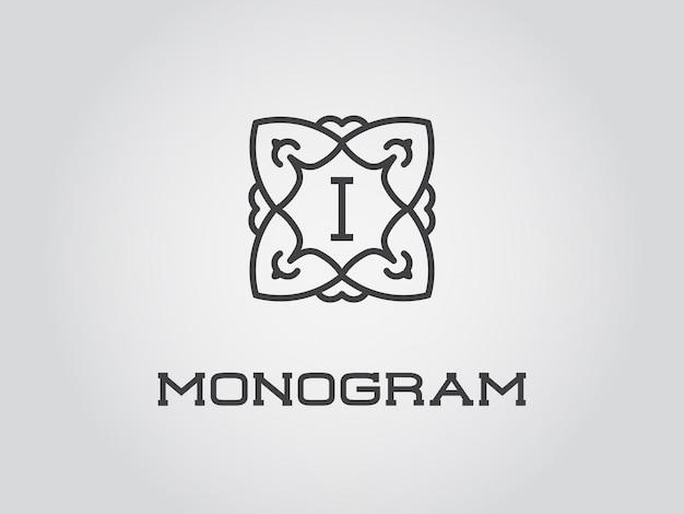 Plantilla compacta de diseño de monograma
