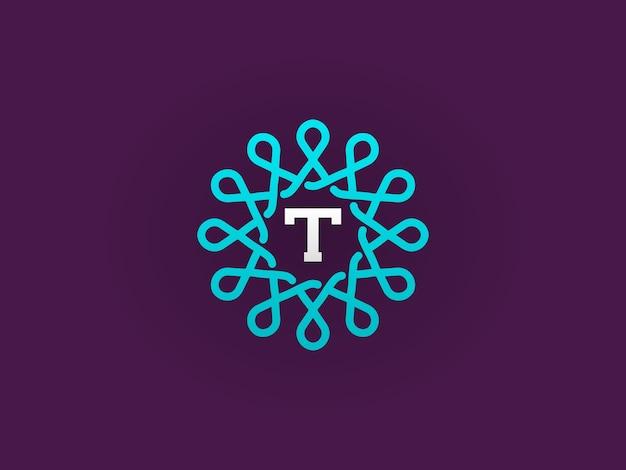 Plantilla compacta de monograma o icono con ilustración de letra calidad elegante premium