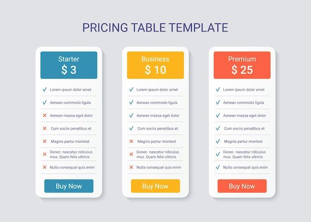 Plantilla de comparación de tabla de precios con 3 columnas. ilustración vectorial.