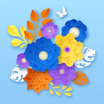 Plantilla de composición abstracta de flores de papel