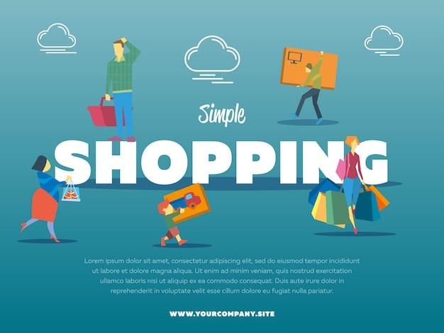 Plantilla de compra simple con personas