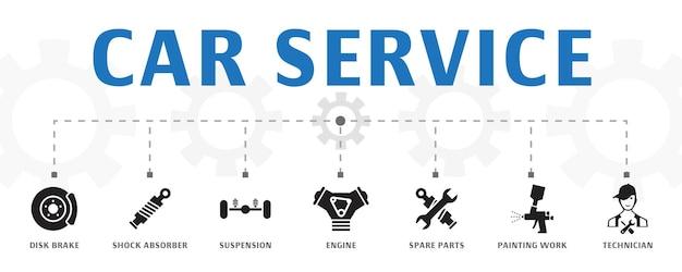Plantilla de concepto de banner de servicio de coche horizontal con iconos simples. contiene iconos como freno de disco, amortiguador, suspensión y más