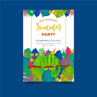 Plantilla con concepto de cartel de fiesta tropical