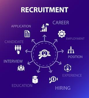 Plantilla de concepto de contratación. estilo de diseño moderno. contiene iconos como carrera, empleo, puesto, experiencia