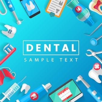 Plantilla de concepto dental con iconos planos aislado