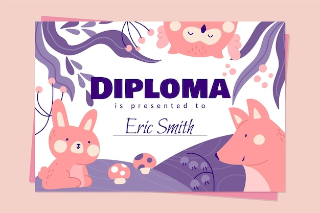 Plantilla de concepto de diploma para niños
