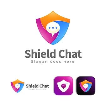 Plantilla de concepto de diseño de logotipo de chat de escudo