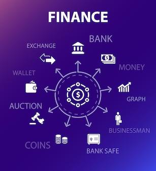 Plantilla de concepto de finanzas. estilo de diseño moderno. contiene iconos como banco, dinero, gráfico, intercambio