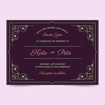 Plantilla con concepto retro para invitación de boda