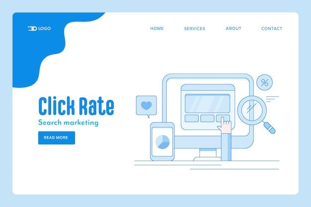 Plantilla conceptual de tasa de clics del sitio web