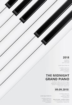 Plantilla de concierto de póster de piano de cola musical