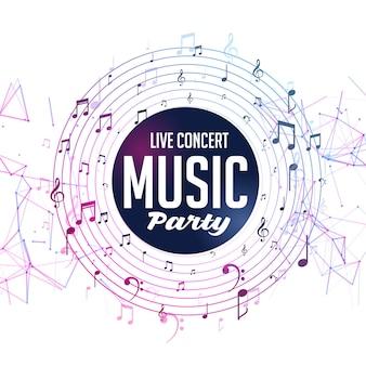 Plantilla de concierto en vivo de fiesta de música con notas