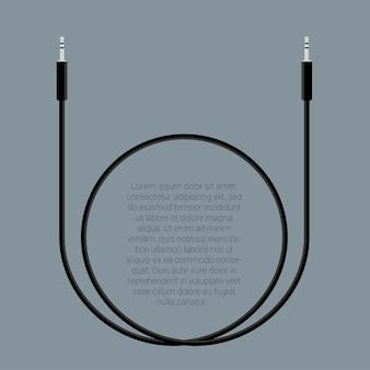 Plantilla de conectores de cable de audio de diseño plano