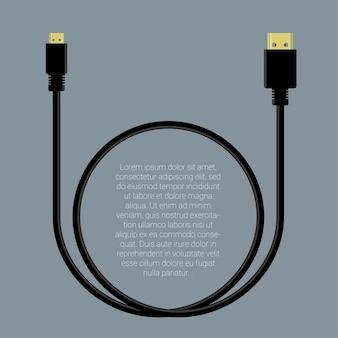 Plantilla de conectores de cable de datos hdmi y mini hdmi de diseño plano