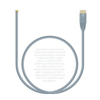 Plantilla de conectores de cable de datos de red lan de diseño plano