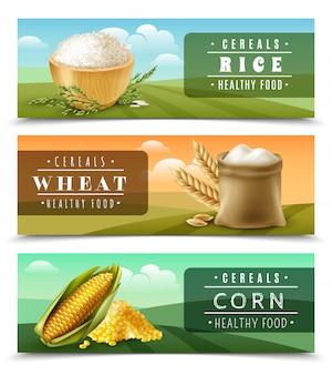 Plantilla de conjunto de banner de cereales