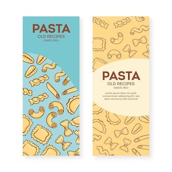 Plantilla de conjunto de banner de restaurante de pasta