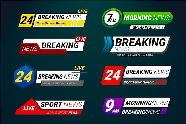 Plantilla de conjunto de banners de noticias de última hora