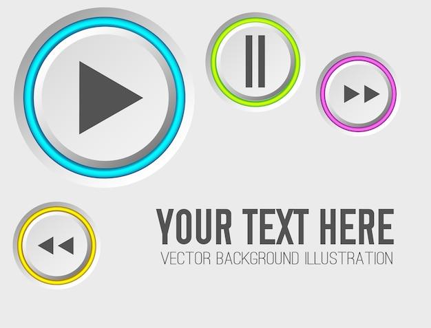Plantilla de conjunto de botones de web de música