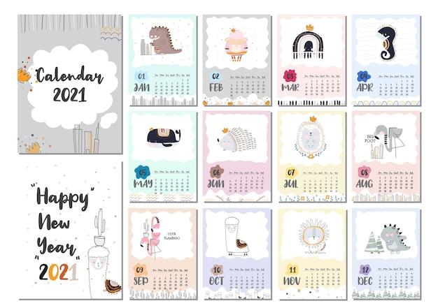 Plantilla de conjunto de calendario de diseño lindo plano