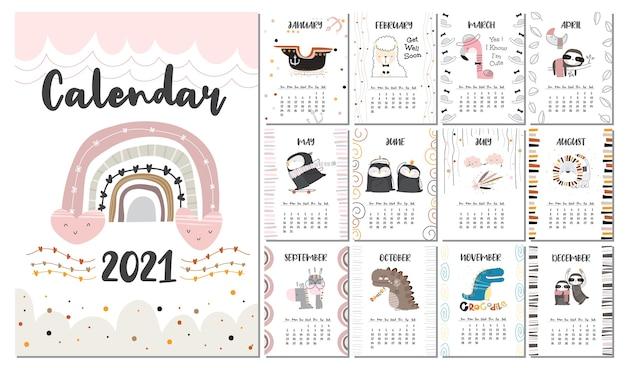 Plantilla de conjunto de calendario lindo plano