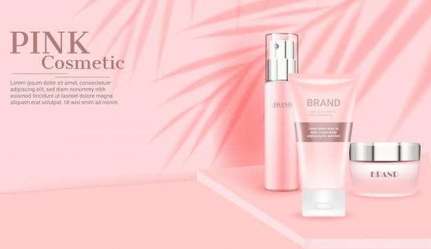 Plantilla de conjunto de cuidado de la piel cosmética rosa