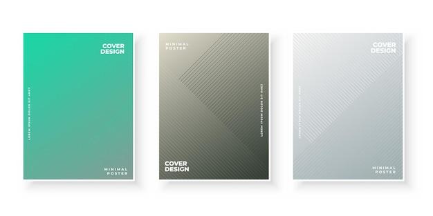 Plantilla de conjunto de diseño de cubiertas de degradado colorido elegante