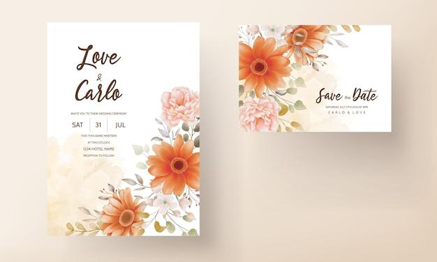 Plantilla de conjunto de diseño de invitación de boda floral de primavera