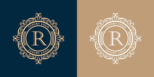 Plantilla de conjunto de diseño de logotipo decorativo floral monograma vintage de lujo de oro
