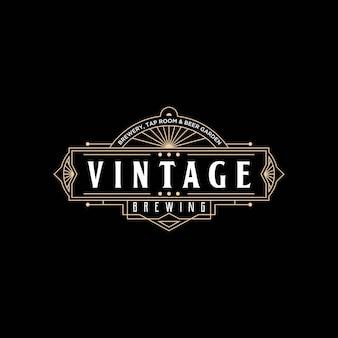 Plantilla de conjunto de diseño de logotipo vintage de cerveza art deco simple