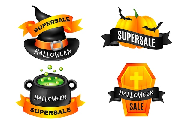 Plantilla de conjunto de etiquetas de venta de halloween