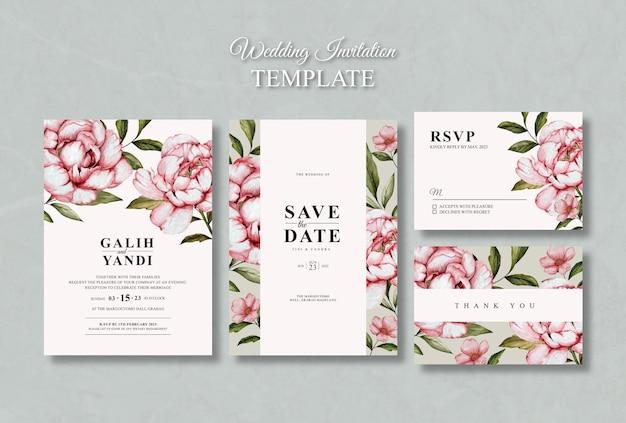 Plantilla de conjunto de invitación de boda floral acuarela