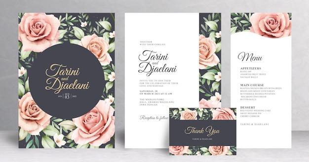Plantilla de conjunto de invitación de boda floral hermosa
