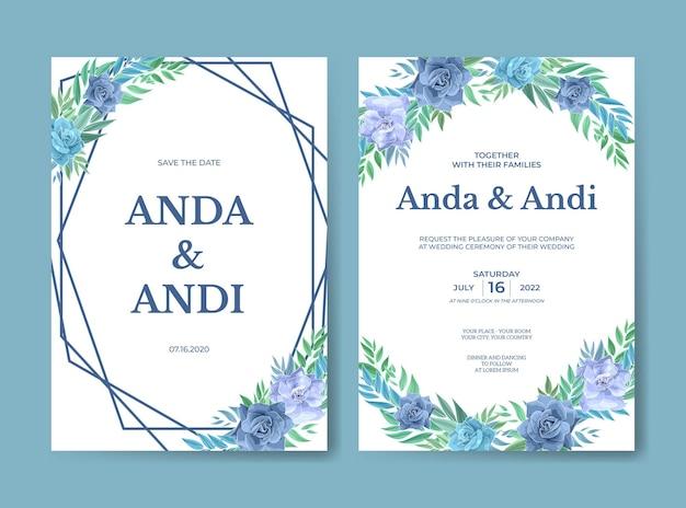 Plantilla de conjunto de invitación de boda hermosa con rosa azul