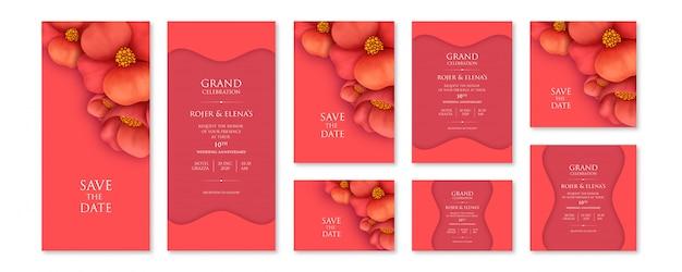 Plantilla de conjunto de invitación floral rojo abstracto con tamaños variables