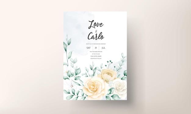 Plantilla de conjunto de invitaciones de boda floral acuarela elegante