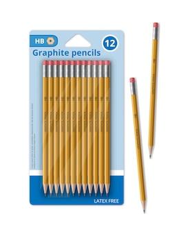 Plantilla de conjunto de lápices de grafito amarillos con gomas de borrar para la escuela en el paquete, ilustración publicitaria sobre fondo blanco.