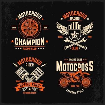 Plantilla de conjunto de logotipo de motocross