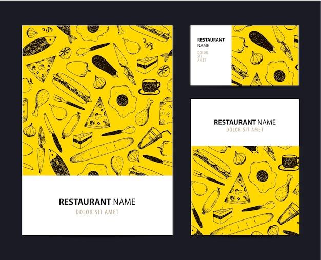 Plantilla de conjunto de negocios con ilustraciones de alimentos dibujadas a mano. elementos de marca de restaurante o cafetería.