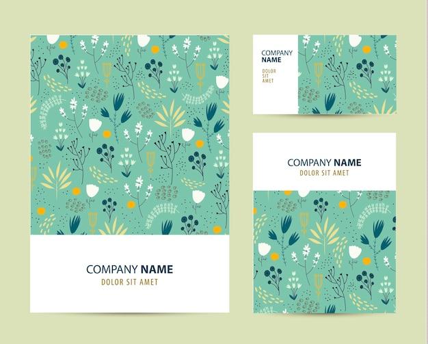 Plantilla de conjunto de negocios con lindo patrón de flores dibujado a mano