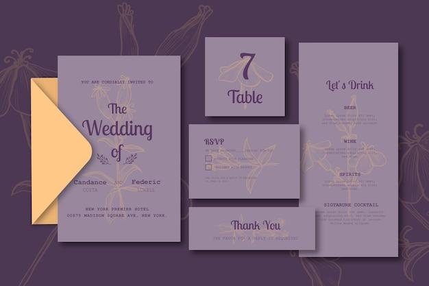 Plantilla de conjunto de papelería de boda