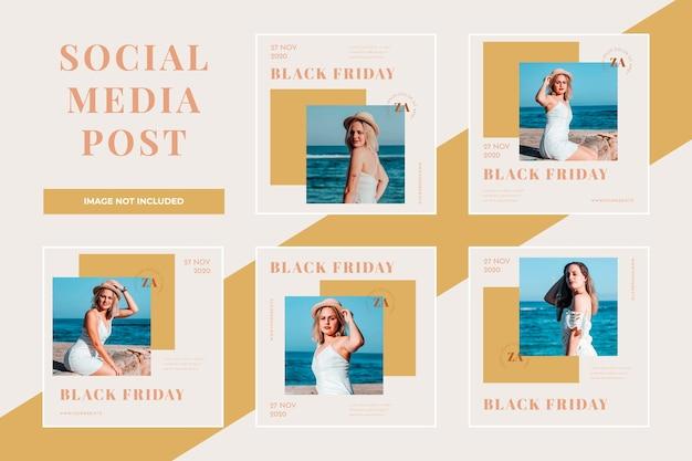 Plantilla de conjunto de publicaciones de redes sociales de venta de viernes negro